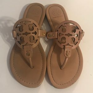 Tory Burch Miller Logo Leather Makeup Sandal 5 1/2